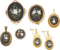 Estate Jewelry:Lots, Victorian Multi-Stone, Gold, Gold-Filled, Base Metal Pietra Dura Jewelry. ... (Total: 6 Items)