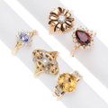 Estate Jewelry:Rings, Diamond, Multi-Stone, Glass, Cultured Pearl, Gold Rings. ...(Total: 5 Items)