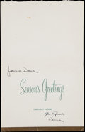 """Football Collectibles:Others, 1963-64 Vince Lombardi Signed Christmas Card to Dave """"Hawg"""" Hanner. ..."""