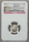 Roosevelt Dimes, 1952-D 10C MS67 Full Bands NGC. Ex: Stack's W 57th St Collection. NGC Census: (103/1). PCGS Population: (80/1). Mintage 12...
