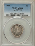 Liberty Nickels: , 1883 5C No Cents MS64 PCGS. PCGS Population: (3518/2075). NGC Census: (2425/2479). CDN: $55 Whsle. Bid for problem-free NGC...