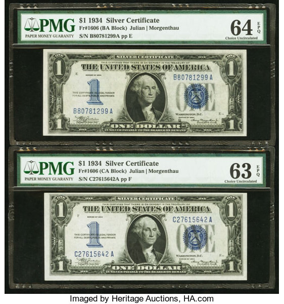 Fr 1606 1 1934 Silver Certificates Two Examples Pmg Lot 82222