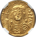 Ancients:Byzantine, Ancients: Maurice Tiberius (AD 582-602). AV lightweight solidus of23 siliquae (4.27 gm). NGC MS 5/5 - 4/5....