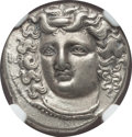 Ancients:Greek, Ancients: THESSALY. Larissa. Mid to late 4th century BC. AR drachm(6.07 gm). NGC AU 5/5 - 4/5, Fine Style....