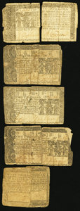 Colonial Notes:Maryland, Maryland Quintet 1760s-70s Fair or Better.. ... (Total: 5 notes)