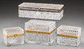 Decorative Arts, Continental:Other , Four Continental Baccarat-Style Cut-Glass Vanity Boxes, late20th-early 21st century. 5-3/8 inches highest x 11 inches wides...(Total: 4 Items)