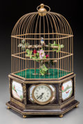 Decorative Arts, Continental, A Brass and Bronze Mounted Birdcage Automaton, 20th century. 21inches high (53.3 cm). ...
