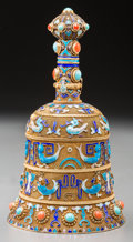 Asian:Chinese, A Chinese Gilt Silver and Enameled Bell-Form Covered Jar. Marks:SILVER. 5-1/2 inches high (14.0 cm). ...