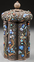 Asian:Chinese, A Chinese Silver and Enameled Tea Caddy. Marks: SILVER.6-3/4 inches high (17.1 cm). ...