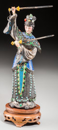 Asian:Chinese, A Chinese Hardstone Inlaid Enameled Silver and Bone Figure withStand: Double Sword Dance. 10-3/4 inches high (2...