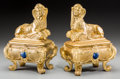 Decorative Arts, French:Other , A Pair of Egyptian Revival Gilt Bronze and Enamel Sphinx-FormChenets, late 19th century. 11-7/8 h x 8-3/4 w x 5-1/2 d inche...(Total: 2 Items)