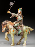 Asian:Chinese, A Chinese Enameled Silver, Bone, and Hardstone Warrior on Horse,21st century. 8 inches high (20.3 cm). ...