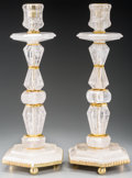 Decorative Arts, Continental, A Pair of Rock Crystal and Gilt Metal Candlesticks, 21st century.22-1/4 inches high (56.5 cm). ... (Total: 2 Items)