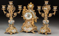 Clocks & Mechanical:Clocks, A Three-Piece French Gilt Bronze and Champlevé Clock Garniture, late 19th century and later. 14-7/8 inches high (37.8 cm). ... (Total: 3 Items)