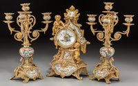 A Three-Piece French Gilt Bronze and Champlevé Clock Garniture, late 19th century and later 14-7/8 inches high (3...