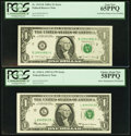 "Error Notes:Error Group Lots, Fr. 1915-B $1 1988A Federal Reserve ""Radar"" Note. PCGS Gem New65PPQ; Fr. 1925-L $1 1999 Federal Reserve Note. PCGS Choice Abo...(Total: 2 notes)"