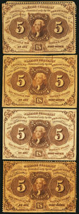 Fractional Currency:First Issue, 5¢ First Issue Four Different Friedberg Numbers.. ... (Total: 4 notes)