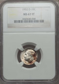Roosevelt Dimes, 1952-D 10C MS67 Full Bands NGC. NGC Census: (103/1). PCGS Population: (80/1). Mintage 122,100,000. ...