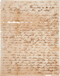 "Miscellaneous:Ephemera, [Sam Houston]. An Anonymous Letter Signed ""A Southern UnionMan.""..."