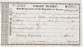 "Miscellaneous, Treasury Warrant Issued to Guadalupe Smith, Widow of Erastus ""Deaf""Smith...."