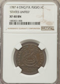 Colonials, 1787 CENT Fugio Cent, STATES UNITED, 4 Cinquefoils, Pointed Rays, XF40 NGC. N. 12-X, W-6820, R.3....