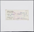 Autographs:Checks, 1975 Jesse Haines Single Signed Check. ...