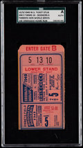 Baseball Collectibles:Tickets, 1949 World Series Game 5 Ticket Stub - Yankees vs. Dodgers, SGCAuthentic. ...