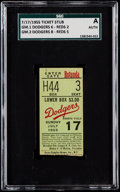 Baseball Collectibles:Tickets, 1955 Brooklyn Dodgers Doubleheader Ticket Stub - Dodgers vs. Reds,SGC Authentic. ...