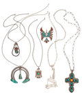 Estate Jewelry:Pendants and Lockets, Southwestern Multi-Stone, Silver Pendants. ... (Total: 6 Items)