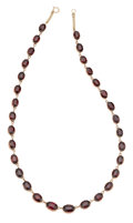 Estate Jewelry:Necklaces, Antique Garnet, Silver-Topped Gold Necklace. . ...