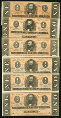 Confederate Notes:1864 Issues, T71 $1 1864 Six Examples.. ... (Total: 6 notes)