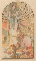 Fine Art - Work on Paper:Print, Alphonse Mucha (Czechoslovakian, 1860-1939). Salammbo(Incantation), 1897. Lithograph in colors. 14-3/4 x 8-1/2inches (...
