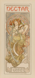 Fine Art - Work on Paper:Print, Alphonse Mucha (Czechoslovakian, 1860-1939). Nectar, 1902.Lithograph in colors. 14-1/4 x 5-1/2 inches (36.2 x 14.0 cm) ...