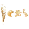 Estate Jewelry:Brooches - Pins, Ruby, Emerald, Cultured Pearl, Gold Brooches. . ... (Total: 4 Items)