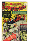 Silver Age (1956-1969):Superhero, The Amazing Spider-Man #14 (Marvel, 1964) Condition: VG+. Here's the first appearance of the Green Goblin (Norman Osborn), a...