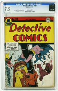 Detective Comics #113 (DC, 1946) CGC VF- 7.5 Off-white pages. Dynamic cover art by Dick Sprang featuring Batman and Robi...