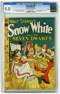 Four Color #49 Snow White and the Seven Dwarfs - File Copy (Dell, 1944) CGC VF/NM 9.0 Cream to off-white pages. Dumbo ap...