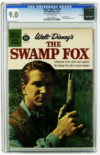 Four Color #1179 The Swamp Fox -- File Copy (Dell, 1961) CGC VF/NM 9.0 Off-white pages. Leslie Nielsen photo cover. Over...