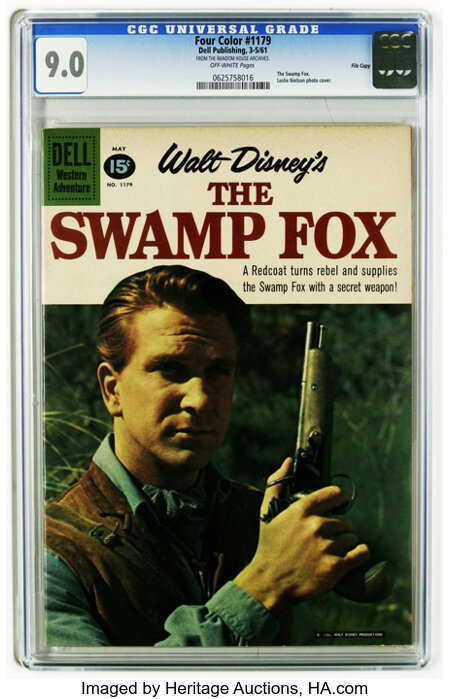 Four Color #1179 The Swamp Fox -- File Copy (Dell, 1961) CGC VF/NM 9.0 Off-white pages. Leslie Nielsen photo cover. Overstre...