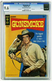 Gunsmoke #5 File Copy (Gold Key, 1969) CGC NM+ 9.6 Off-white to white pages. James Arness Photo cover. Joe Certa art. Ti...