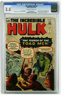 Silver Age (1956-1969):Superhero, The Incredible Hulk #2 (Marvel, 1962) CGC VG- 3.5 Off-white to white pages. First time Hulk is green. Second appearance of R...