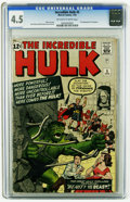Silver Age (1956-1969):Superhero, The Incredible Hulk #5 (Marvel, 1963) CGC VG+ 4.5 Off-white to white pages. Jack Kirby and Dick Ayers cover and art. Overstr...