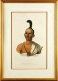 """Antiques:Posters & Prints, """"Kai-Pol-E-Quah"""" (White Nosed Fox) of the Sauk & Fox Tribe,Fine Indian Portrait Printed and Colored,..."""