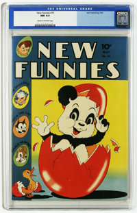 New Funnies #75 (Dell, 1943) CGC NM 9.4 Cream to off-white pages. Felix the Cat, Andy Panda, and Oswald the Rabbit appea...