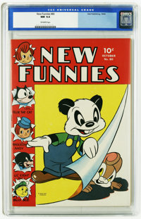 New Funnies #80 (Dell, 1943) CGC NM 9.4 Off-white pages. The colors really stand out on this cover, considering it is ov...