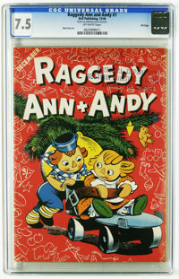 Raggedy Ann and Andy #7 File Copy (Dell, 1946) CGC VF- 7.5 Off-white pages. Christmas cover. Features the only appearanc...