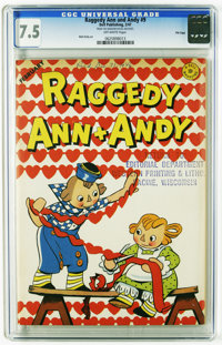 Raggedy Ann and Andy #9 File Copy (Dell, 1947) CGC VF- 7.5 Off-white pages. Highest grade yet assigned by CGC for this i...
