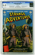 "Golden Age (1938-1955):Science Fiction, Strange Adventures #1 (DC, 1950) CGC FN 6.0 White pages. Adaptationof the movie ""Destination Moon."" Unique cover art combin..."