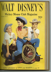 Walt Disney's Mickey Mouse Club Magazine V2#1-6 Bound Volume (Western, 1956-57). An Annette Funicello photo cover highli...