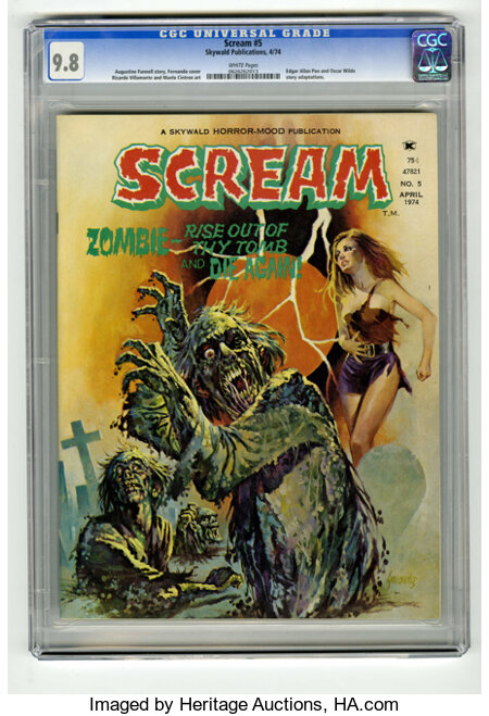 Scream #5 (Skywald, 1974) CGC NM/MT 9.8 White pages. Edgar Allan Poe and Oscar Wilde story adaptations. Far and away the hig...